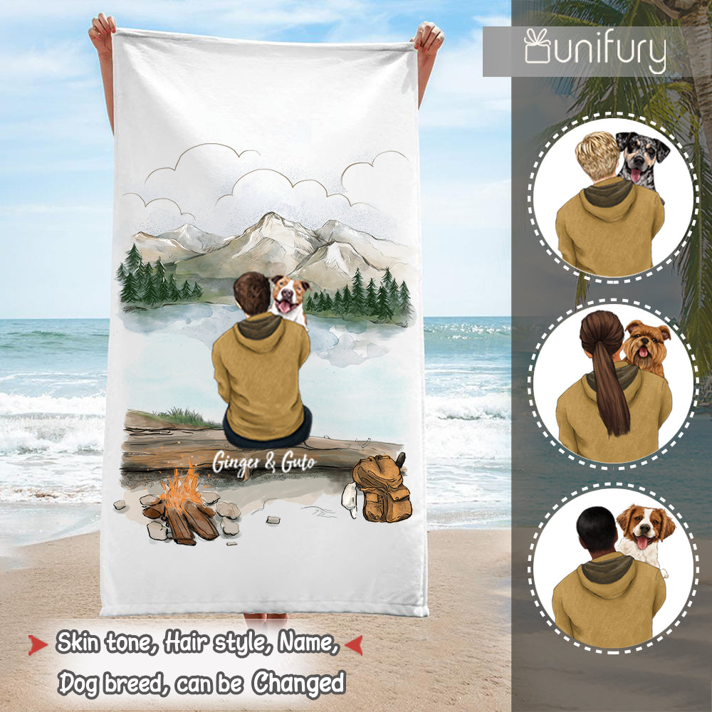 Personalized gifts for dog lovers plush beach towel - Dog Dad - Mountain Hiking