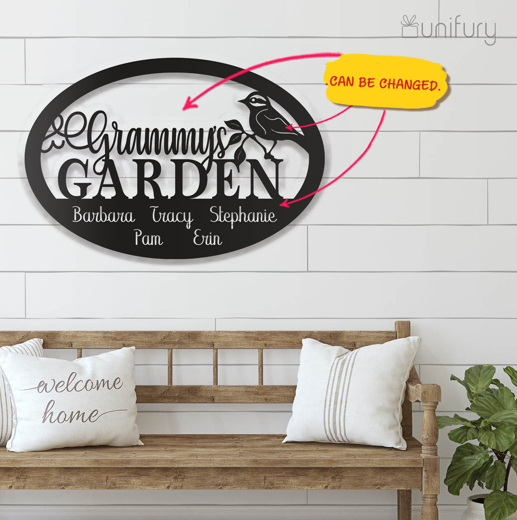Personalized custom grammy's garden sign metal wall art decor - New home housewarming gift ideas - 2424