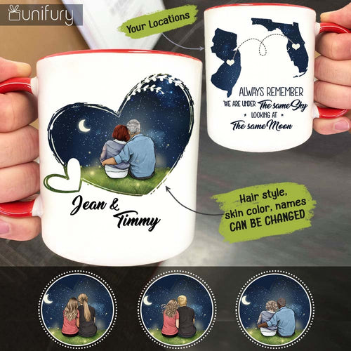 Personalized Couple Long Distance Relationship Accent Mug Gifts For Him For Her - Night Sky