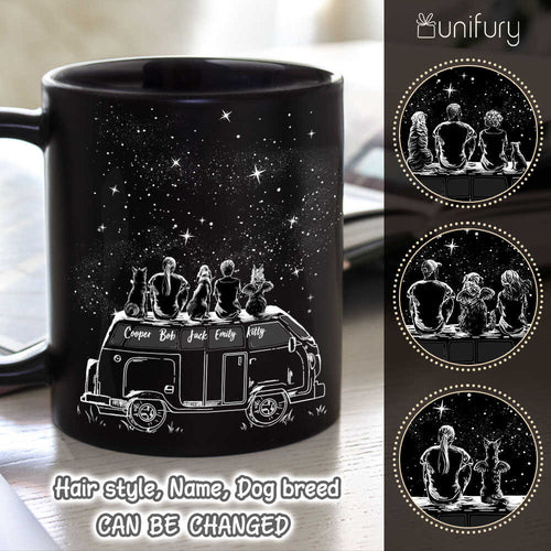 Personalized dog coffee mug - DOG & COUPLE - Car Camping - Night Sky