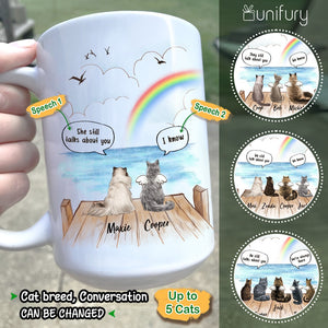 Personalized cat memorial gifts Rainbow Bridge Coffee Mug They still talk about you conversation - Wooden Dock