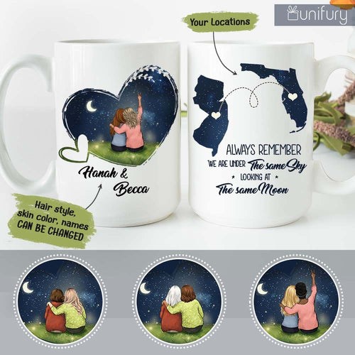 Personalized Best Friends Long Distance Relationship Coffee Mug Gifts - Night Sky