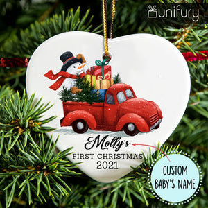 Personalized Baby First Christmas Ceramic Ornaments 2020 (PRINTED ON BOTH SIDES) - Santa's Truck
