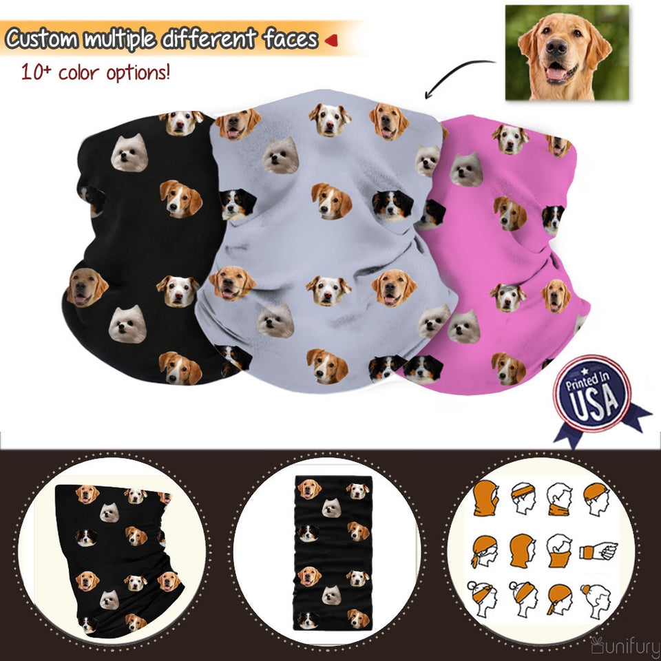 Personalized Custom Face Neck Gaiter Neck Warmer Crop faces from pet photo, family photo or baby photo (Printed in USA)