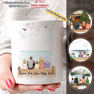 Personalized family members COFFEE MUG gift for the whole family - UP TO 5 PEOPLE - CUSTOM BACKGROUND - 2426