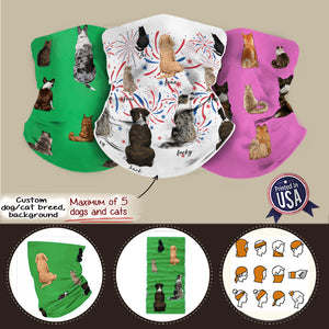 Personalized Neck Gaiter Neck Warmer with hand drawn images of dogs cats Gift for dog cat lovers (Printed in USA)