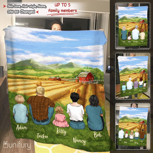 Personalized gifts for the whole family Fleece Blanket- UP TO 5 PEOPLE - Farming - 2426