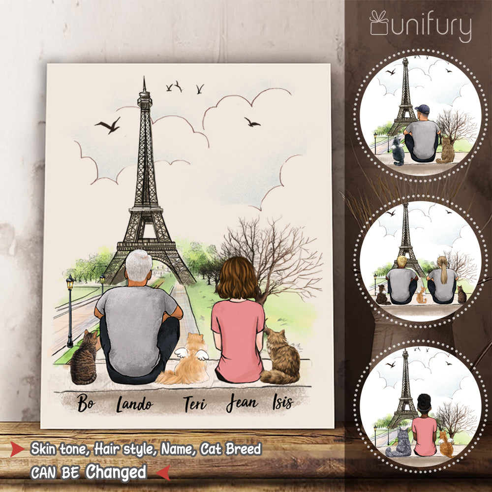 Personalized custom cat & couple canvas print canvas art gift for cat mom dad lover owner Eiffel - 2423