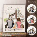 Personalized custom cat & couple canvas print canvas art gift for cat mom dad lover owner London - 2423