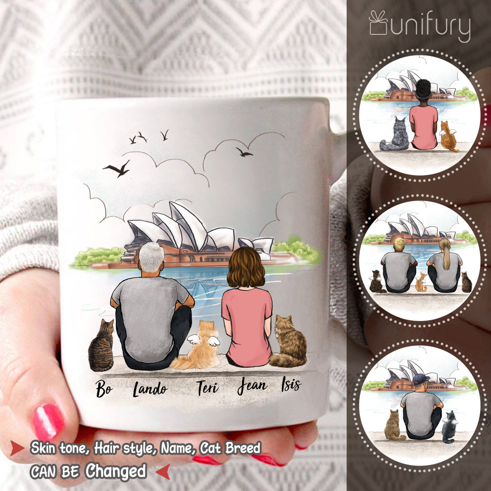 Personalized custom cat & couple coffee mug gift for cat mom dad lover owner Opera house - 2423