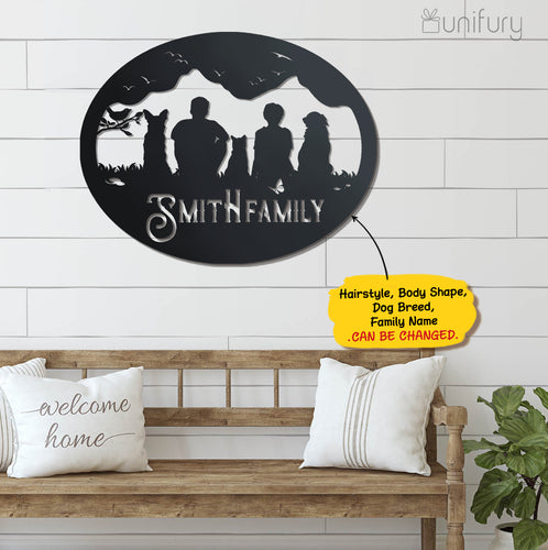 Personalized custom dog & couple metal wall art decor for dog mom dad lover owner - New home housewarming gift ideas - 2424
