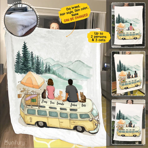 Personalized custom cat & couple fleece blanket gift for cat mom dad lover owner - Camping - 2418
