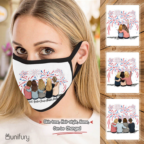 Personalized best friend birthday gifts 4th Of July Polyblend washable fabric cloth face mask