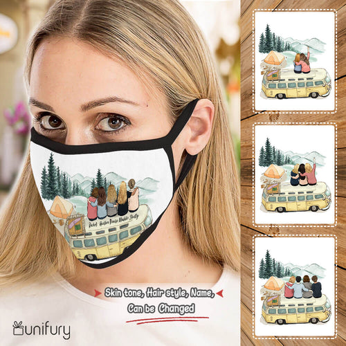 Personalized best friend birthday gifts Polyblend washable fabric cloth face mask - Camping
