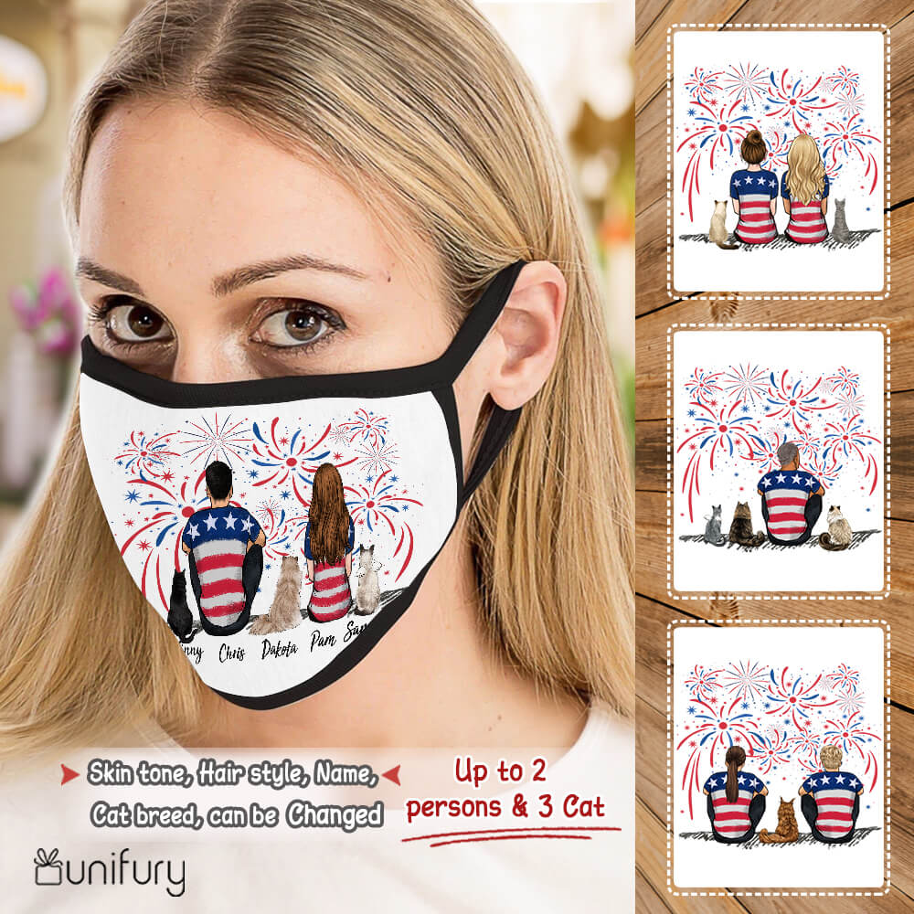 Personalized cat & couple polyblend washable fabric cloth face mask 4th Of July