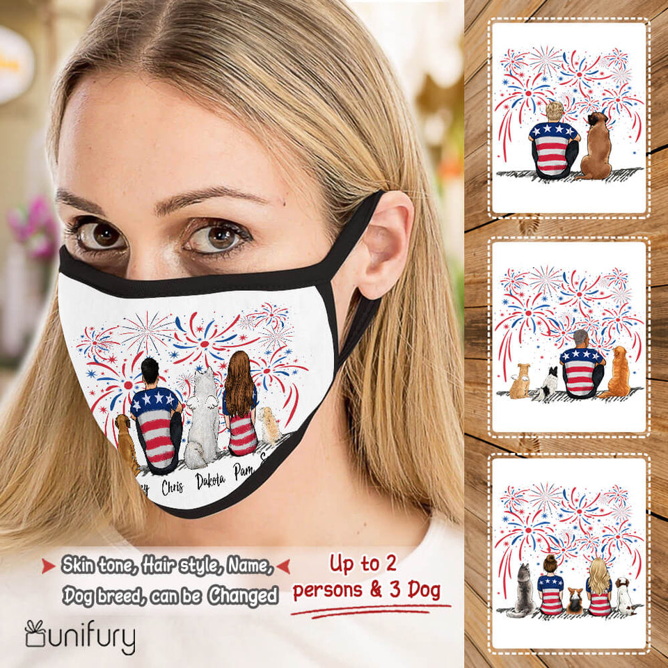 Personalized dog & couple polyblend washable fabric cloth face mask 4th Of July gift for dog mom dad lover owner