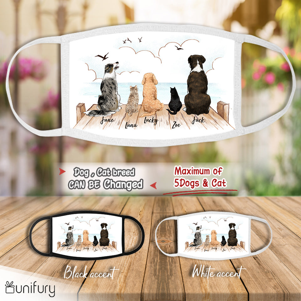 Personalized washable fabric cloth face mask for dog cat mom dad lover owner - Wooden dock