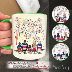 Personalized family members accent mug with two-tone rim and handle 4th Of July gift for the whole family - UP TO 5 PEOPLE - 2426