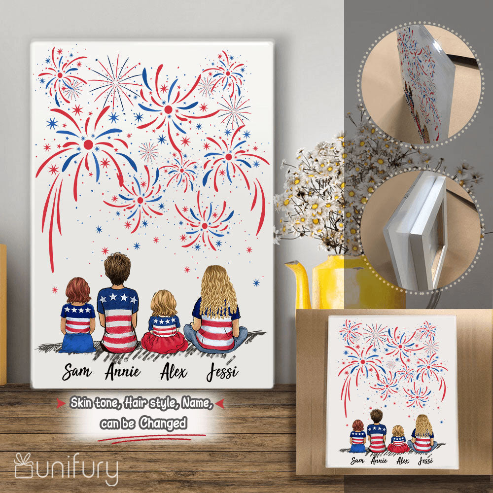 Personalized family members acrylic print 4th Of July gift for the whole family - UP TO 5 PEOPLE - 2426