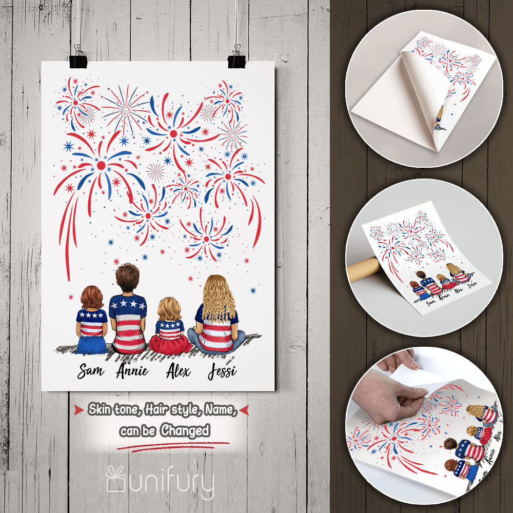 Personalized family members peel & stick poster print 4th Of July gift for the whole family - UP TO 5 PEOPLE - 2426