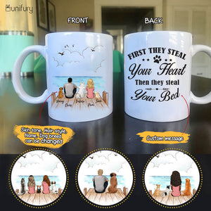 Personalized custom dog & couple coffee mug gift for dog mom dad lover owner - CUSTOM MESSAGE -  Wooden Dock - 2269