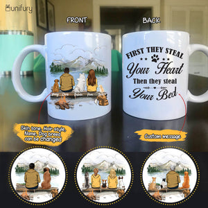 Personalized custom dog & couple coffee mug gift for dog mom dad lover owner - CUSTOM MESSAGE - Mountain - Hiking - 2415