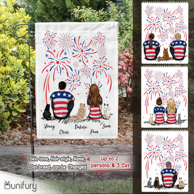 Personalized custom cat & couple garden flag gift for cat mom dad lover owner 4th Of July - 2408