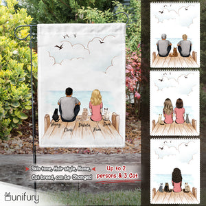 Personalized custom cat & couple garden flag gift for cat mom dad lover owner - Wooden Dock - 2408