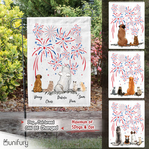 Personalized custom dog & cat garden flag gift for dog cat mom dad lover owner 4th Of July - 2283