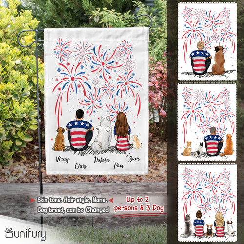 Personalized custom dog & couple garden flag 4th Of July - 2340