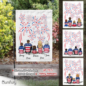 Personalized family members garden flag 4th Of July gift for the whole family - UP TO 5 PEOPLE - 2426