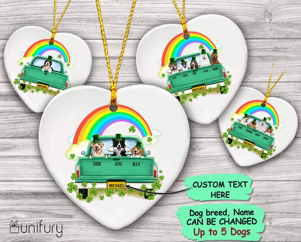 Personalized gifts for dog lovers - St. Patrick's Day - Ceramic Ornament (PRINTED ON BOTH SIDES)