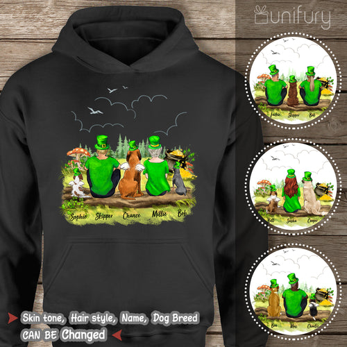 [BLACK] Personalized custom dog & couple St Patrick's day hoodie for dog mom dad lover owner - 2422