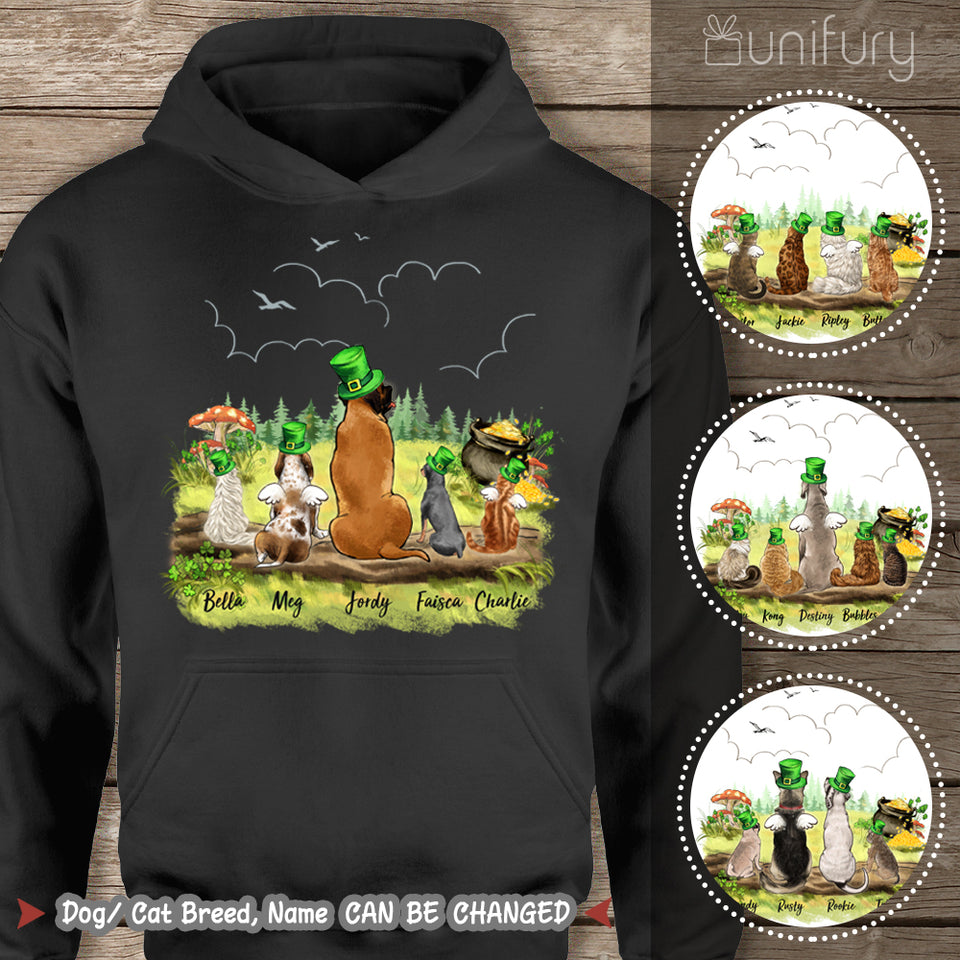 [BLACK] Personalized custom dog & cat St Patrick's Day hoodie for dog cat mom dad lover owner - 2422