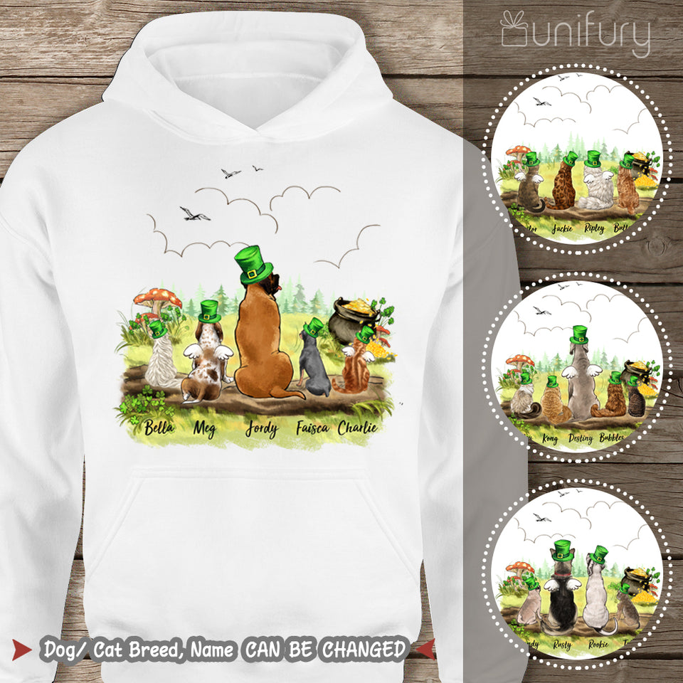 [WHITE - GREY] Personalized custom dog & cat St Patrick's Day hoodie for dog cat mom dad lover owner - 2422