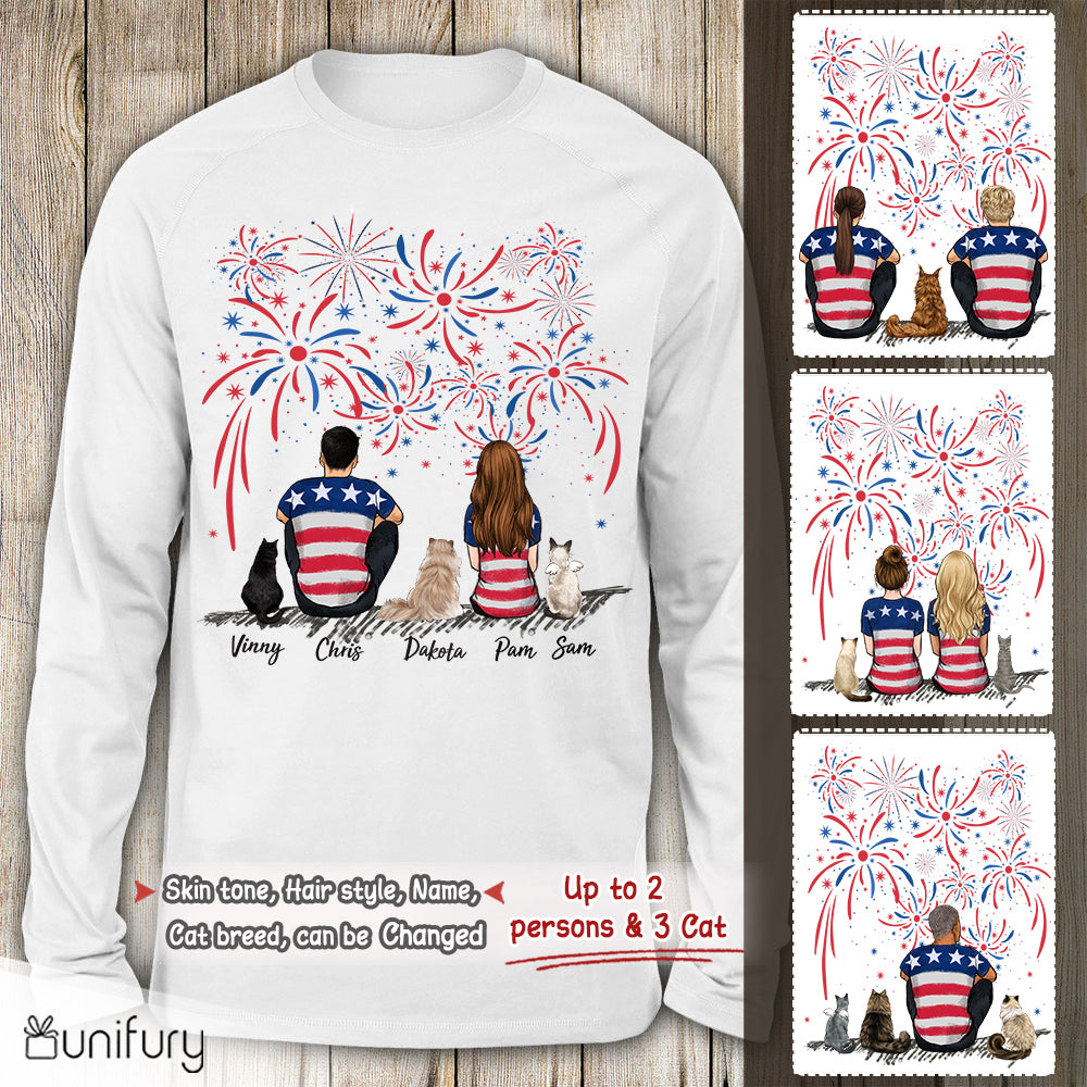 Personalized custom cat & couple Long Sleeve gift for cat mom dad lover owner 4th Of July - 2408