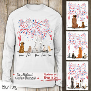 Personalized dog & cat Long sleeve 4th Of July - 2283
