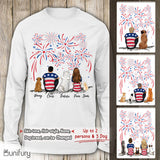 Personalized custom dog & couple Long Sleeve 4th Of July - 2340
