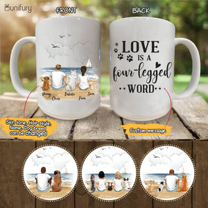 Personalized custom dog & couple coffee mug gift for dog mom dad lover owner - CUSTOM MESSAGE -  Beach - 2365