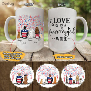 Personalized custom dog & couple coffee mug 4th Of July - CUSTOM MESSAGE - 2340
