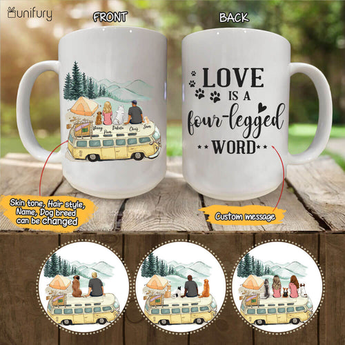 Personalized dog mug gifts for dog lovers - DOG & COUPLE - CUSTOM MESSAGE - Camping - 2355