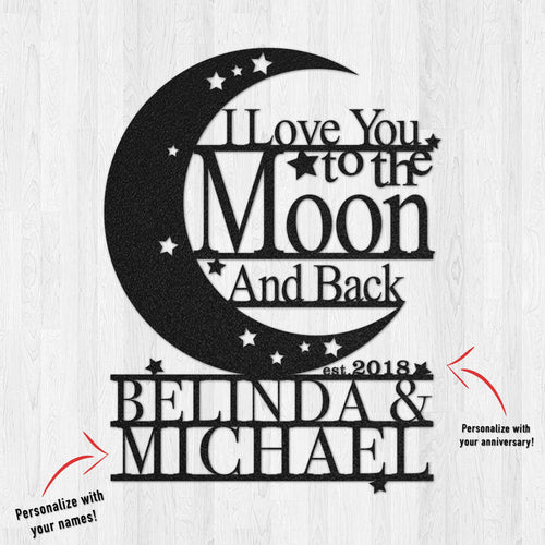 Personalized To The Moon & Back Couple Metal Wall Art