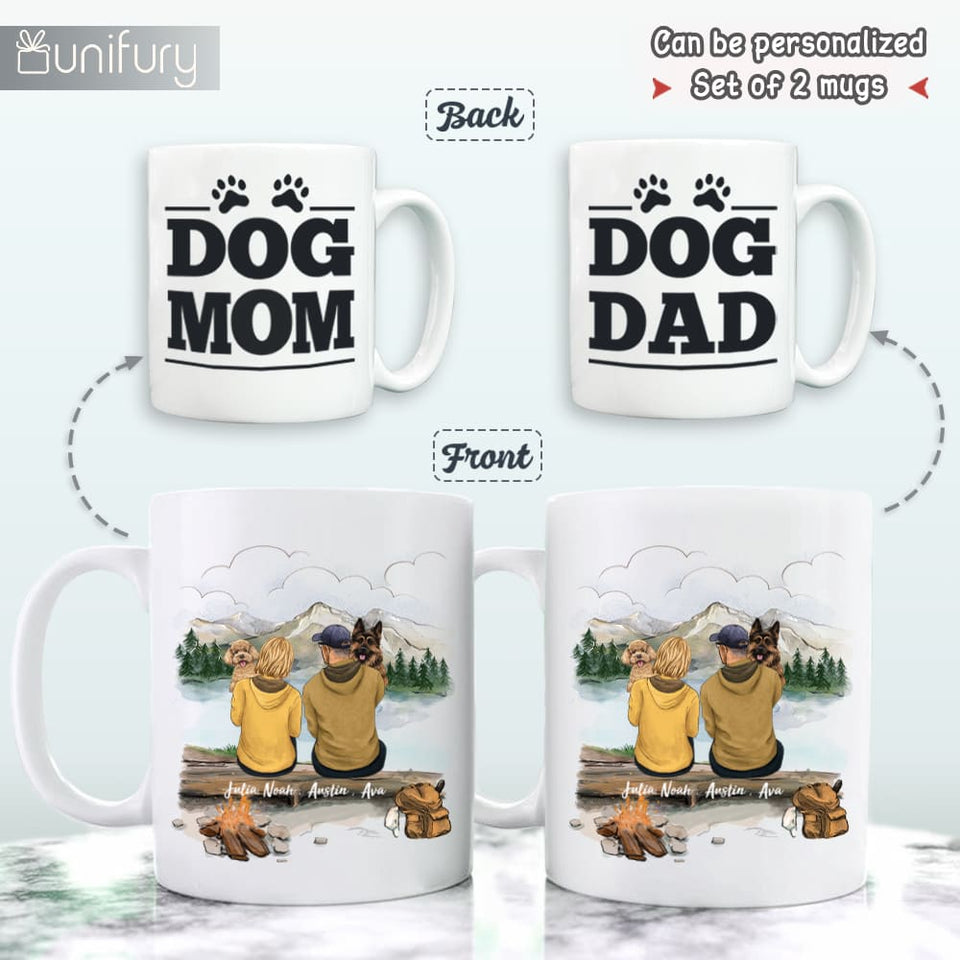Personalized Couples Mug Gifts For Dog Lovers - Dog Mom & Dog Dad - Mountain Hiking