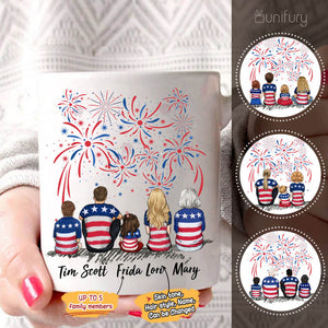 Personalized family members coffee mug gift for the whole family - UP TO 5 PEOPLE - 4th of July  - 2426
