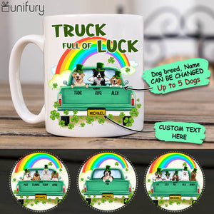 Personalized Coffee Mug Gifts For Dog Lovers - St. Patrick's Day - Truck full of luck