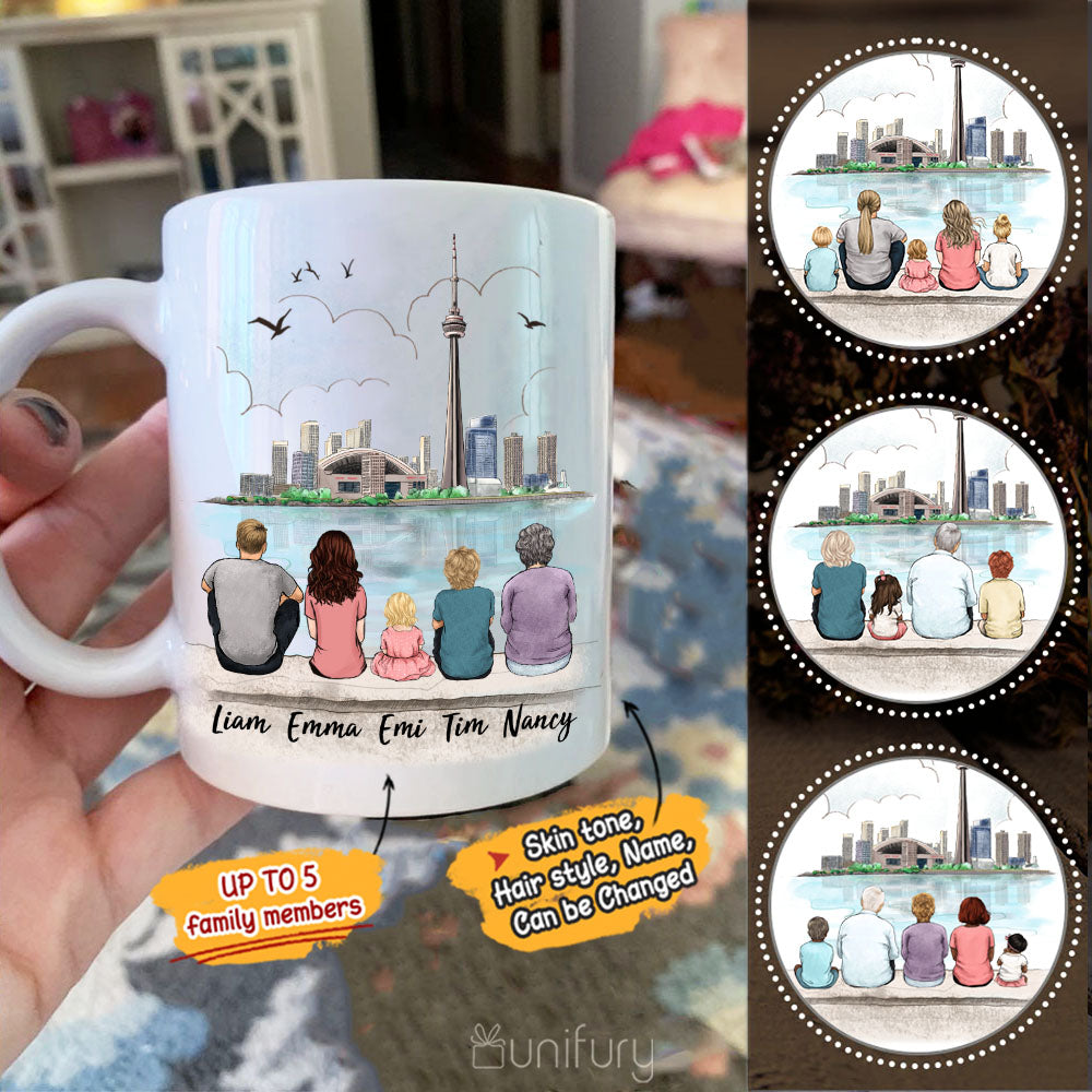 Personalized family members coffee mug gift for the whole family - UP TO 5 PEOPLE - CN Tower - 2433