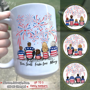 Personalized gifts for the whole family 4th Of July Coffee Mug - UP TO 5 PEOPLE - 2426