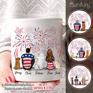 Personalized custom dog & couple Coffee Mug 4th Of July - 2340