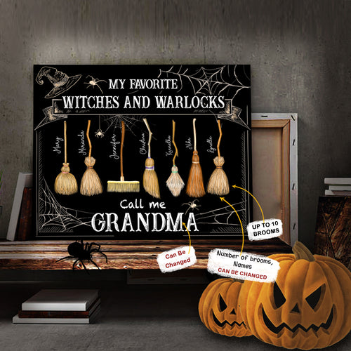 Personalized Family Little Witches Halloween Canvas Print - Perfect Gift For Mom, Dad, Grandma, Grandpa - 2405