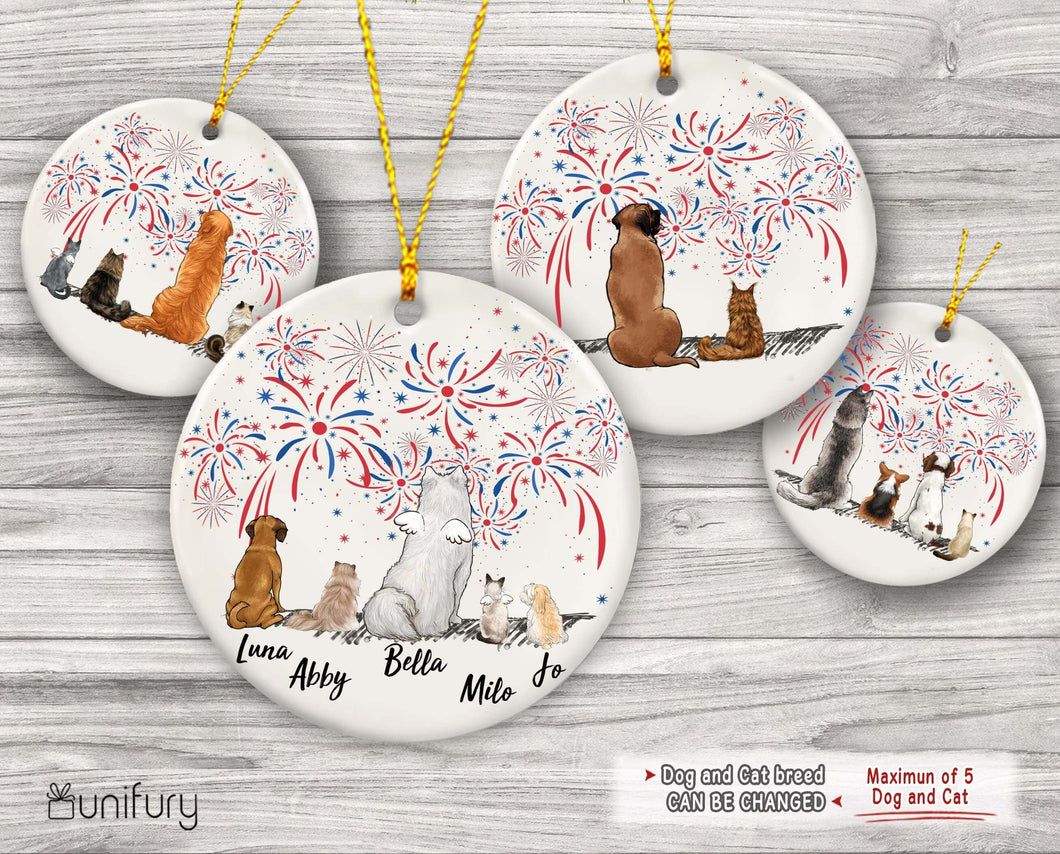 Personalized Christmas Ceramic Ornament gifts for dog cat lovers 4th Of July (PRINTED ON BOTH SIDES) - DOG & CAT - 2283